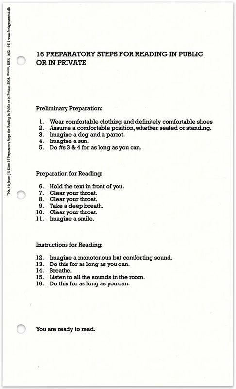 """* [asterisk] nr. 44, """"16 prepatory steps for reading in public or in private"""". Jeuno JE Kim"""