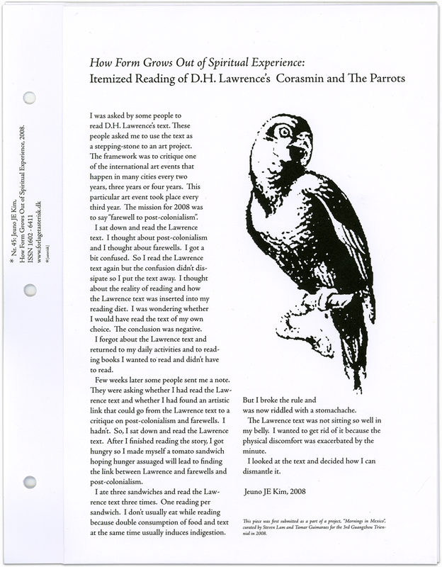 """* [asterisk] nr. 45, """"How Form Grows Out of Spiritual Experience: Itemized Reading of D.H. Lawrence's Corasmin and The Parrots"""". Jeuno JE Kim"""